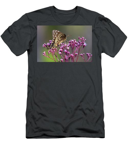 Butterfly On Wild Flowers Men's T-Shirt (Athletic Fit)