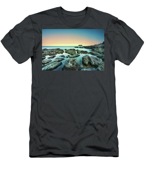 Calm Rocky Coast In Greece Men's T-Shirt (Athletic Fit)