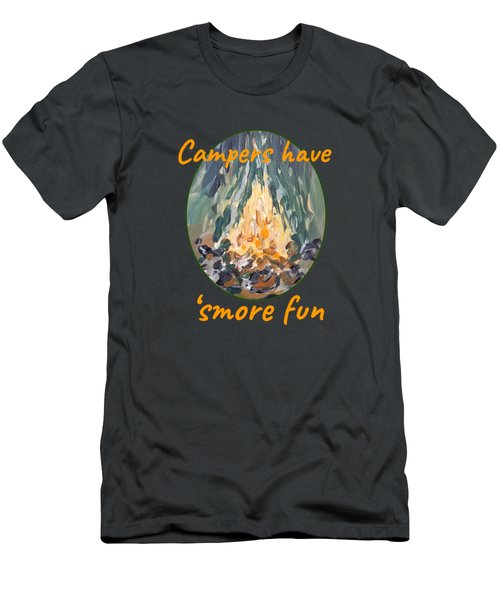 Men's T-Shirt (Athletic Fit) featuring the painting Campers Have Smore Fun by Maria Langgle