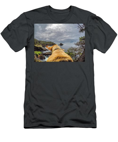 Men's T-Shirt (Athletic Fit) featuring the photograph Cape Flattery By Photo Dog Jackson by Matthew Irvin