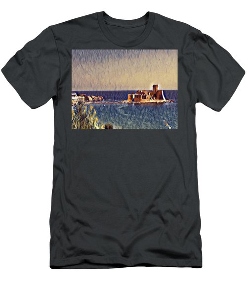 Men's T-Shirt (Athletic Fit) featuring the digital art Castle In Sea by Lucia Sirna