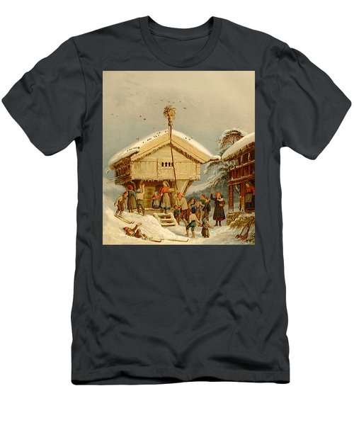 Celebrating Yuletide, By Adolph Tidemand Men's T-Shirt (Athletic Fit)