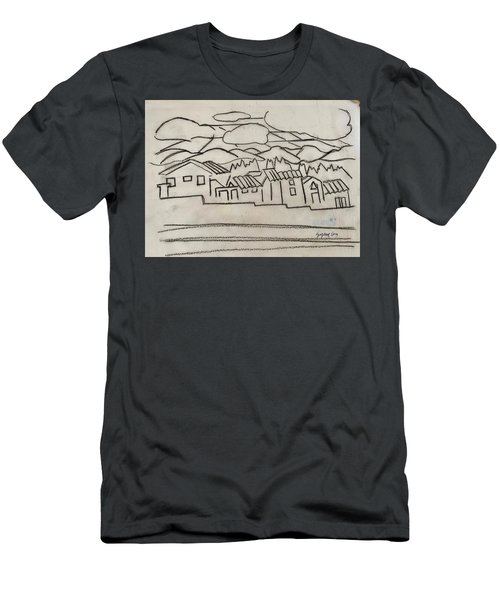 Charcoal Houses Sketch Men's T-Shirt (Athletic Fit)