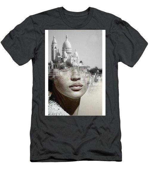 Men's T-Shirt (Athletic Fit) featuring the painting Cherishing White Buildings by Arttantra