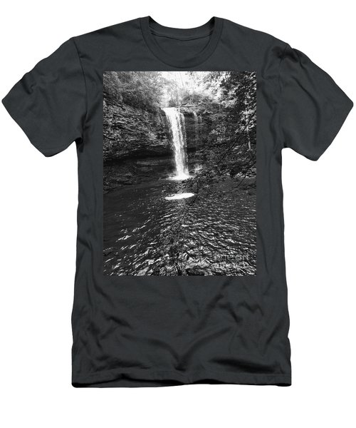 Men's T-Shirt (Athletic Fit) featuring the photograph Cherokee Falls Bnw by Rachel Hannah