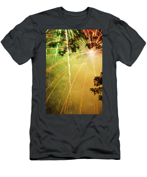 Yellow Fireworks Men's T-Shirt (Athletic Fit)