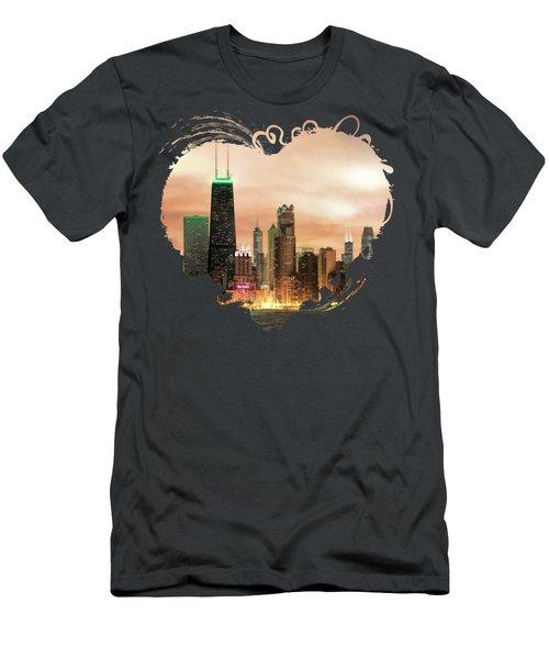 Chicago Gotham City Skyline Panorama Men's T-Shirt (Athletic Fit)