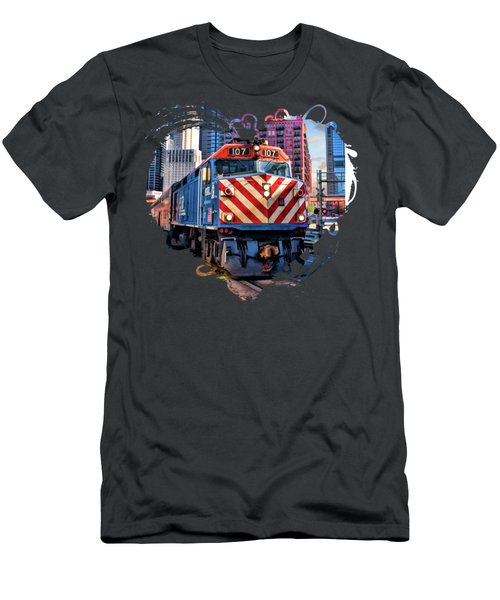Chicago Metra Train Downtown Men's T-Shirt (Athletic Fit)