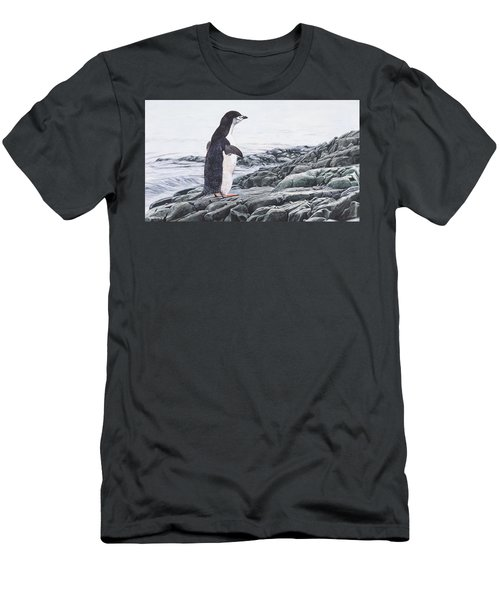 Men's T-Shirt (Athletic Fit) featuring the painting Chinstrap Penguin On A Rock By Alan M Hunt by Alan M Hunt