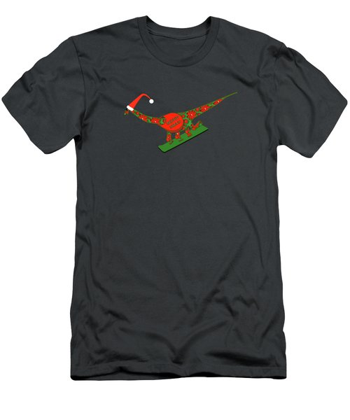 Christmas Dinosaur Snowboarding Men's T-Shirt (Athletic Fit)