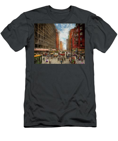 Men's T-Shirt (Athletic Fit) featuring the photograph City - Chicago Il - Marshall Fields Company 1911 by Mike Savad