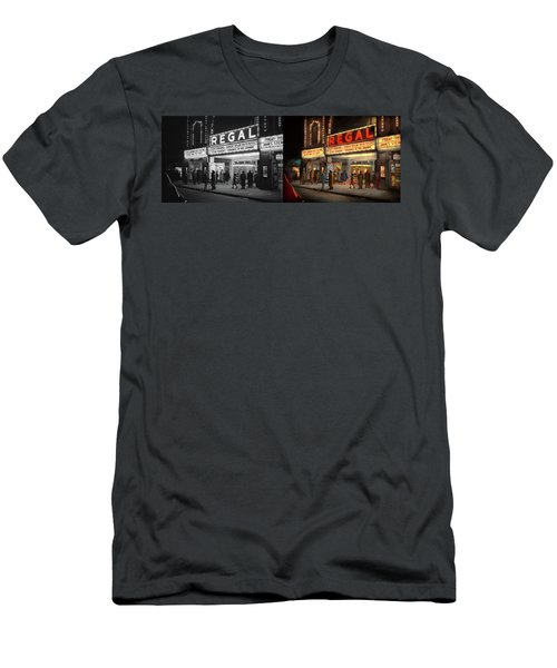 Men's T-Shirt (Athletic Fit) featuring the photograph City - Chicago Il - Nightlife At The Regal Theater 1941 - Side By Side by Mike Savad