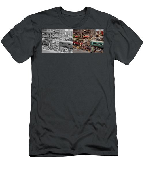 Men's T-Shirt (Athletic Fit) featuring the photograph City - Dc - Road Closed For Repairs 1941 - Side By Side by Mike Savad