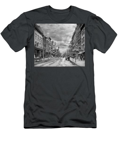 Men's T-Shirt (Athletic Fit) featuring the photograph City - Poughkeepsie Ny - The Ever Changing Market Place 1906 - Black And White by Mike Savad