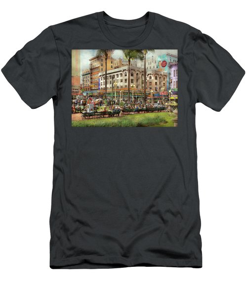 Men's T-Shirt (Athletic Fit) featuring the photograph City - San Diego Ca - A Busy Street Corner 1941 by Mike Savad