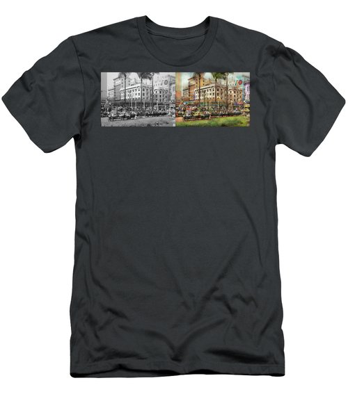 Men's T-Shirt (Athletic Fit) featuring the photograph City - San Diego Ca - A Busy Street Corner 1941 - Side By Side by Mike Savad
