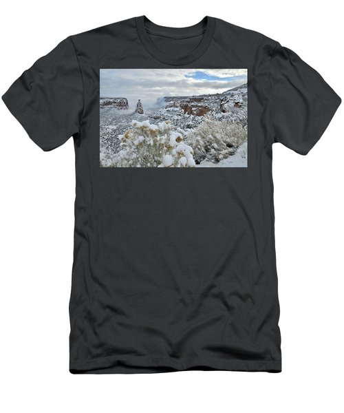 Clouds Break Over Snow Covered Independence Canyon Men's T-Shirt (Athletic Fit)