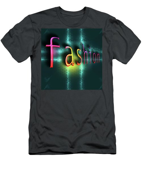 Colorful Word Fashion On Blue Reflecting Metallic Background. Men's T-Shirt (Athletic Fit)
