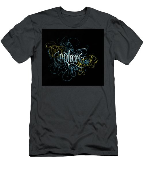 Contact. Calligraphic Abstract Men's T-Shirt (Athletic Fit)