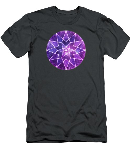 Cosmic Purple Geometric Seed Of Life Crystal Lotus Star Mandala Men's T-Shirt (Athletic Fit)
