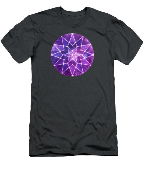 Cosmic Purple Geometric Seed Of Life Crystal Lotus Star Mandala Men's T-Shirt (Athletic Fit)