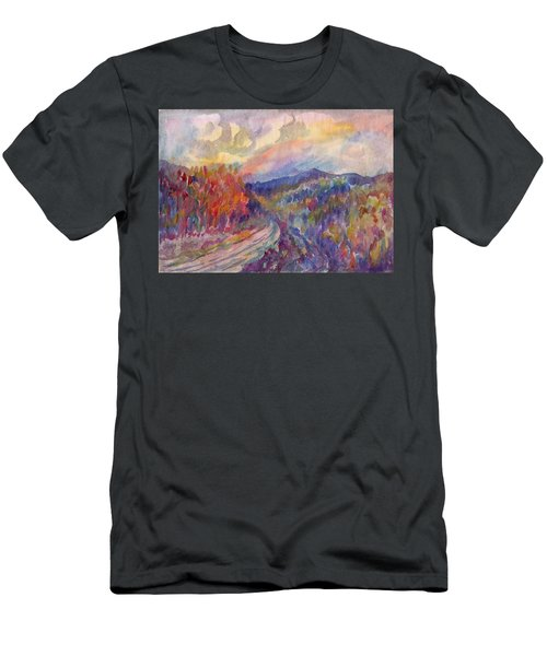 Country Road In The Autumn Forest Men's T-Shirt (Athletic Fit)