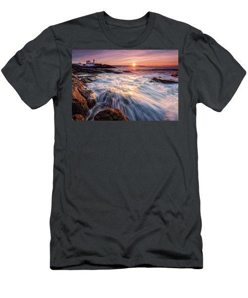 Crashing Waves At Sunrise, Nubble Light.  Men's T-Shirt (Athletic Fit)