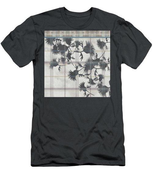 Cream Thistle Plaid Contrast Border Men's T-Shirt (Athletic Fit)