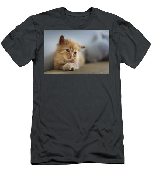 Cute Orange Kitty Men's T-Shirt (Athletic Fit)