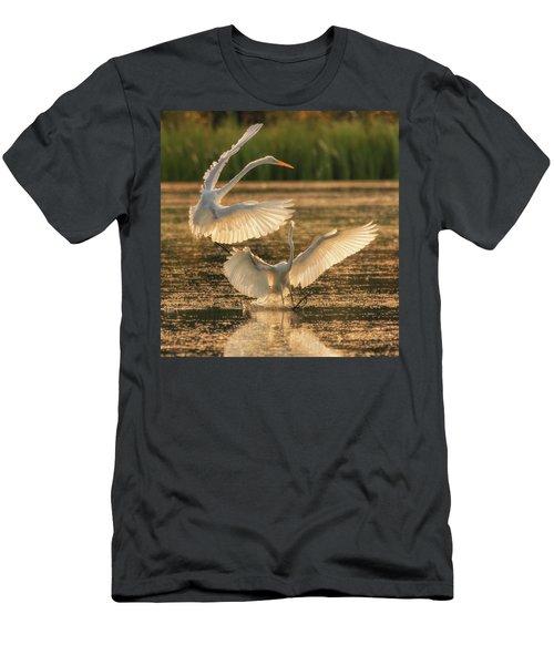 Dancing Egrets  Men's T-Shirt (Athletic Fit)