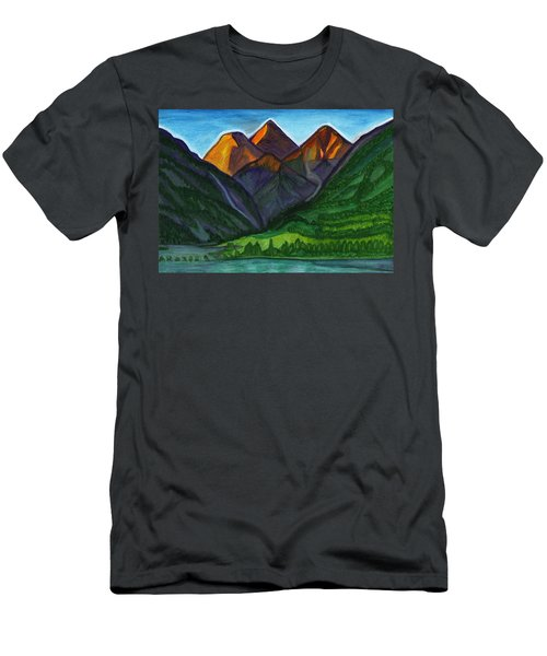 Evening Illumination Of Snowy Mountain Peaks With Waterfalls And A Mountain River Men's T-Shirt (Athletic Fit)
