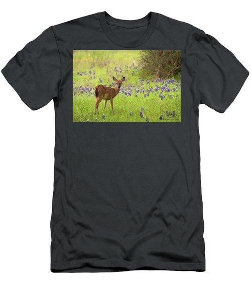 Deer In The Bluebonnets Men's T-Shirt (Athletic Fit)