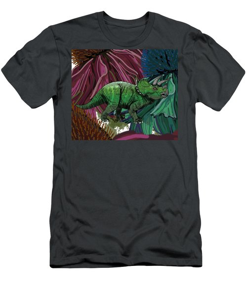 Dinosaur Triceratops Flowers Men's T-Shirt (Athletic Fit)