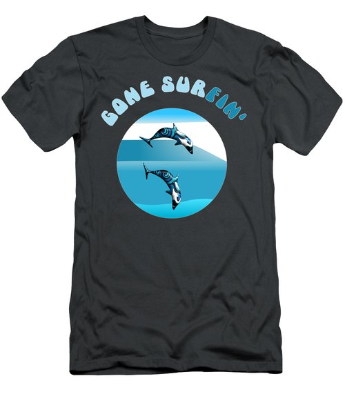 Dolphins Surfing With Text Gone Surfing Men's T-Shirt (Athletic Fit)