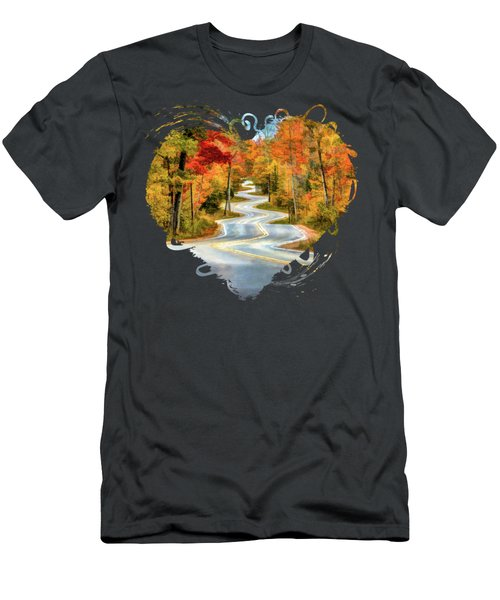 Door County Road To Northport In Autumn Men's T-Shirt (Athletic Fit)