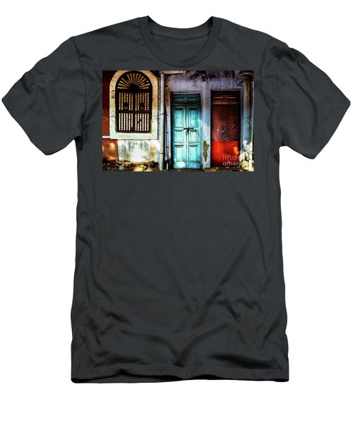 Men's T-Shirt (Athletic Fit) featuring the photograph Doors Of India - Blue Door And Red Door by Miles Whittingham