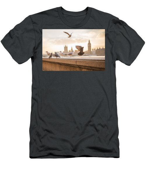 Doves And Seagulls Over The Thames In London Men's T-Shirt (Athletic Fit)