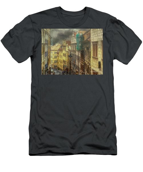 Downhill, Downtown, Prague Men's T-Shirt (Athletic Fit)