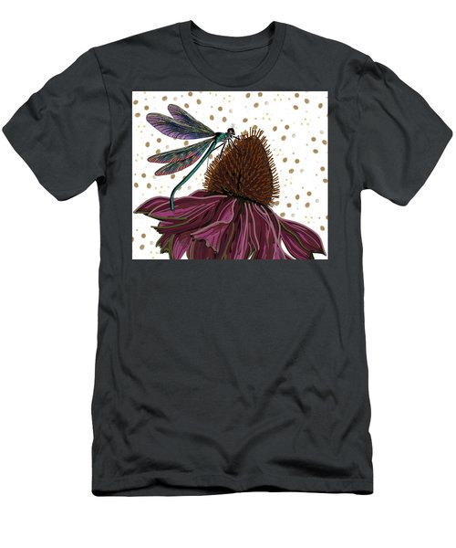 Men's T-Shirt (Athletic Fit) featuring the drawing Dragon Fly And Echinacea Flower by Joan Stratton