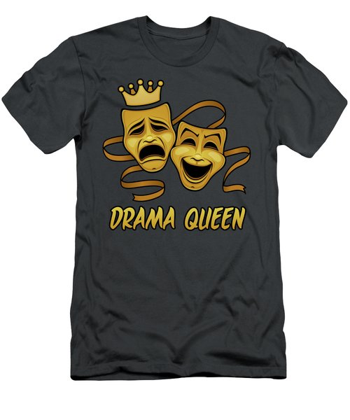Drama Queen Comedy And Tragedy Gold Theater Masks Men's T-Shirt (Athletic Fit)