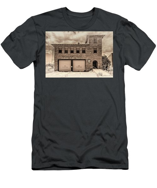 Men's T-Shirt (Athletic Fit) featuring the photograph Duran Fire Dept by Lou Novick