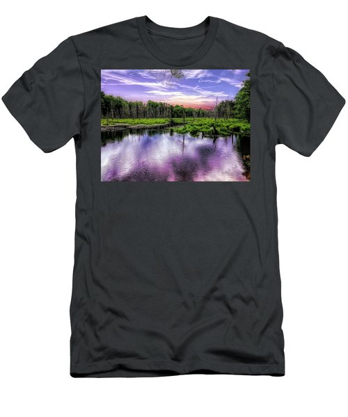 Dusk Falls Over New England Beaver Pond. Men's T-Shirt (Athletic Fit)