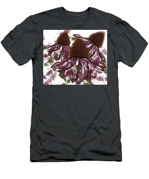 Men's T-Shirt (Athletic Fit) featuring the drawing Echinacea Flowers Line by Joan Stratton