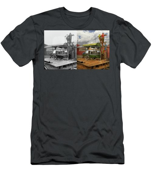 Men's T-Shirt (Athletic Fit) featuring the photograph Electrician - Linemen - Installing Search Lights 1929 - Side By Side by Mike Savad