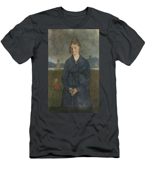 Men's T-Shirt (Athletic Fit) featuring the painting Eva With Bohus Fortress In The Background by Ivar Arosenius