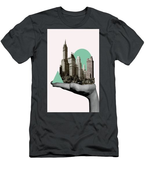 Men's T-Shirt (Athletic Fit) featuring the painting Exquisite Buildings On Palm by Arttantra