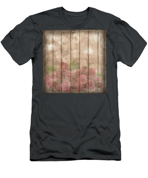 Faded Red Country Roses On Wood Men's T-Shirt (Athletic Fit)