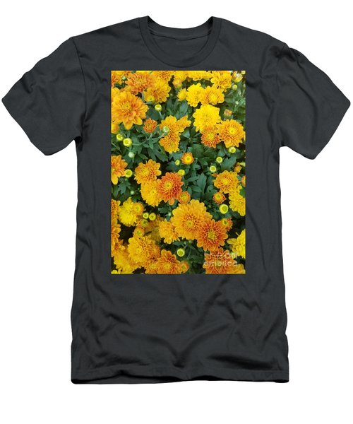 Men's T-Shirt (Athletic Fit) featuring the photograph Fall Chrysanthemums Autumn Orange by Rachel Hannah