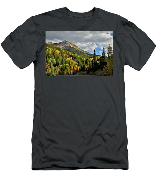 Fall Color Aspens Beneath Red Mountain Men's T-Shirt (Athletic Fit)