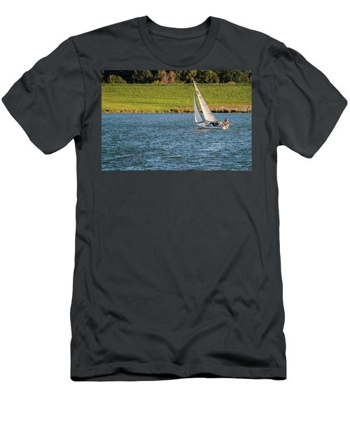 Men's T-Shirt (Athletic Fit) featuring the photograph Fall Sunday Sail by Edward Peterson